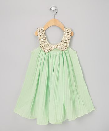 Mint Pleat Sequin Swing Dress - Infant, Toddler & Girls
