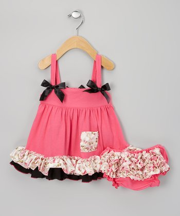 Hot Pink & Black Floral Swing Top & Diaper Cover - Infant