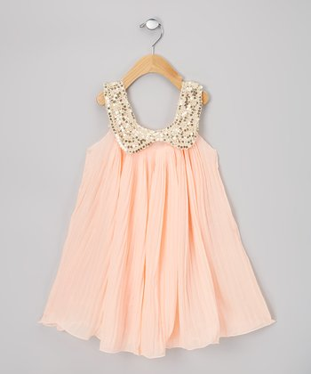 Light Pink Pleat Sequin Swing Dress - Infant, Toddler & Girls