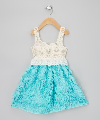 Blue & Cream Chiffon Rosette Dress - Infant, Toddler & Girls
