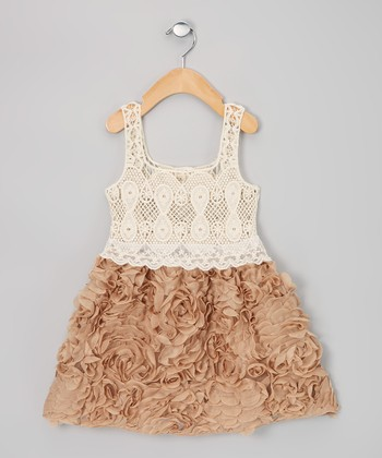 Brown & Cream Chiffon Rosette Dress - Infant, Toddler & Girls