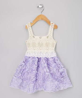 Lavender & Cream Chiffon Rosette Dress - Infant, Toddler & Girls