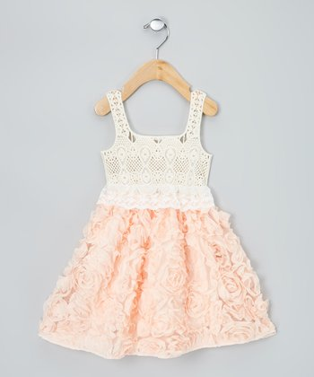 Pink & Cream Chiffon Rosette Dress - Infant, Toddler & Girls