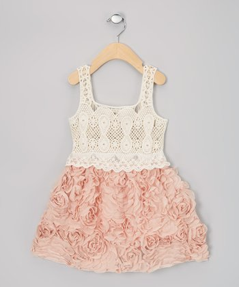 Rose & Cream Chiffon Rosette Dress - Girls
