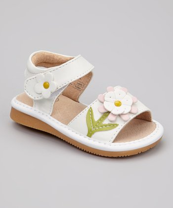 White Sunflower Squeaker Sandal