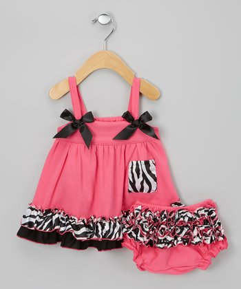 Hot Pink & Black Zebra Swing Top & Diaper Cover - Infant