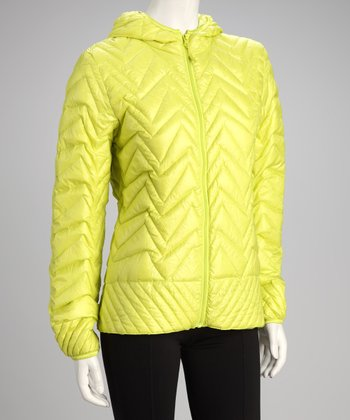 Bright Yellow Ultra-Light Hooded Jacket - Women