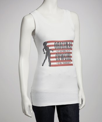 White Stars and Stripes Racerback Burnout Tank - Women & Plus