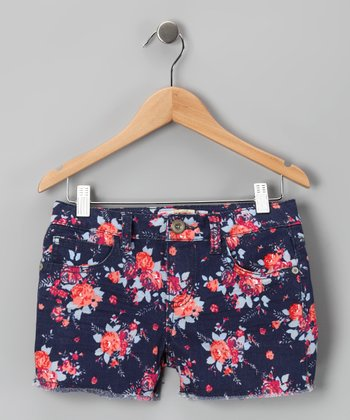 Navy Floral Shorts - Girls