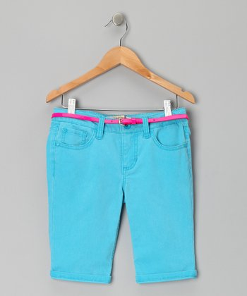 Neon Blue Roll Up Bermuda Shorts