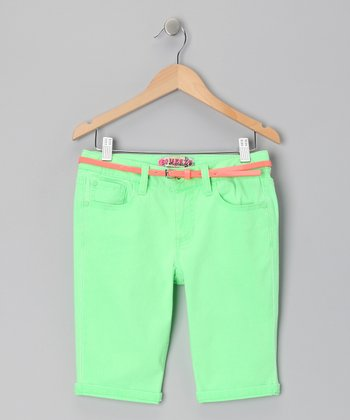 Neon Green Roll Up Bermuda Shorts
