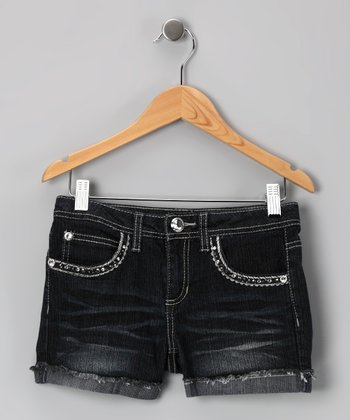 Dark Stone Wash Rhinestone Denim Shorts