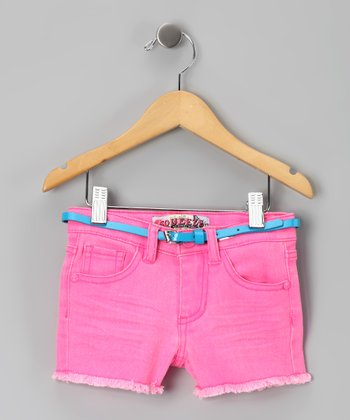 Hot Pink Fringe Shorts - Toddler