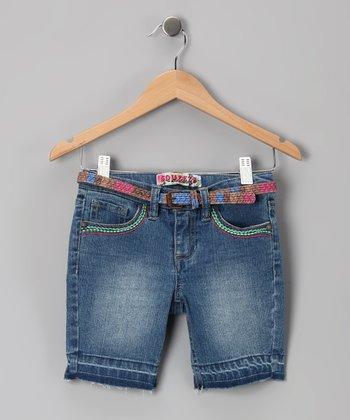 Double Stone Wash Butterfly Bermuda Shorts