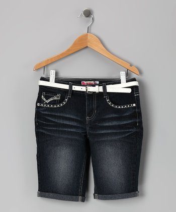 Dark Stone-Wash Stud Bermuda Shorts - Girls