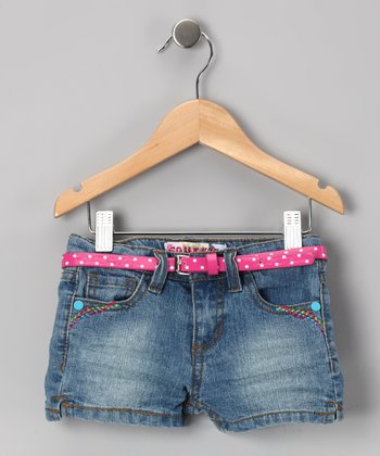 Double Stone Wash Daisy Shorts - Toddler