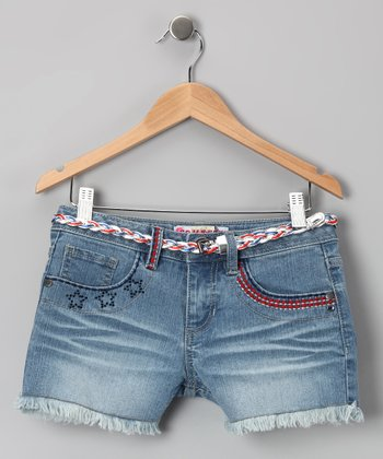 Double Stone Wash Americana Denim Shorts - Girls