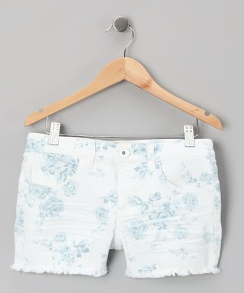 Blue Floral Shorts - Girls