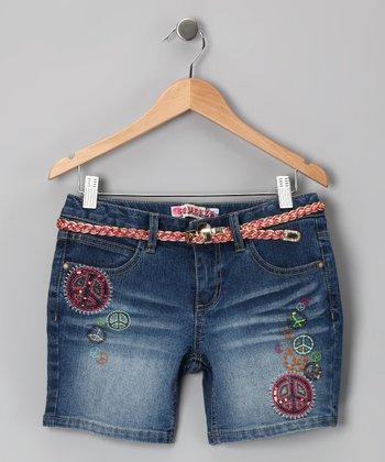 Medium Stone-Wash Peace Bermuda Shorts - Girls