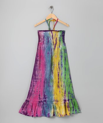 Rainbow Sequin Tie-Dye Convertible Dress - Girls
