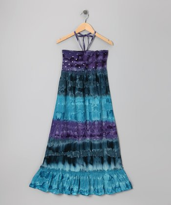 Purple Marble Sequin Tie-Dye Convertible Dress