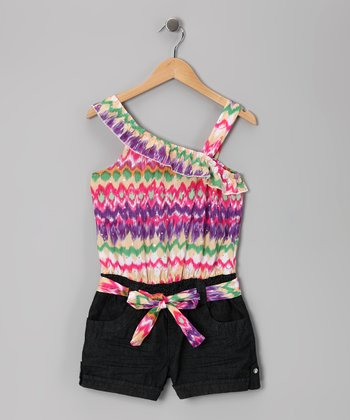 Zigzag Rainbow & Dark Wash Ruffle Romper - Girls