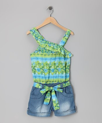Green & Medium Stone Wash Ruffle Romper - Girls