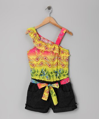 Yellow & Dark Wash Ruffle Romper - Girls