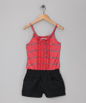 Dark Wash & Orange Space-Dye Romper - Girls
