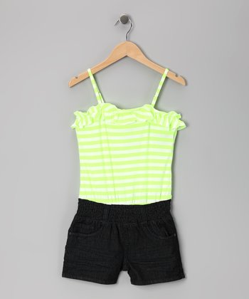 Neon Yellow Stripe & Dark Stone Wash Romper - Girls
