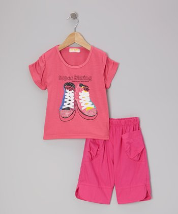 Fuchsia 'Super Staring' Tee & Pants - Girls