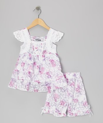 Purple Floral Tiered Ruffle Tunic & Capri Pants - Girls