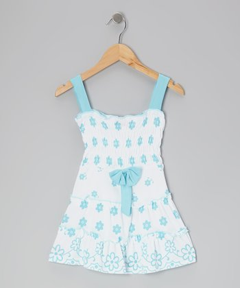 Blue Flower Shirred Dress - Girls