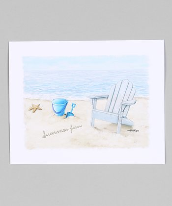 Blue Beach Chair Giclée Print