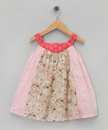 Pink & Beige Flower Yoke Dress - Infant