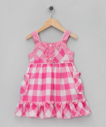 Pink & White Gingham Babydoll Dress - Infant