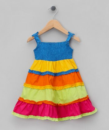 Blue & Yellow Tiered Dress - Infant