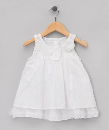 White Doby A-Line Dress - Infant