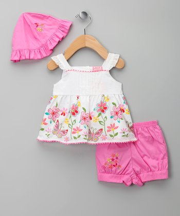 Pink & White Floral Swing Top Set