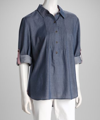 Chambray Pleated Button-Up Tunic