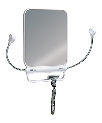 White Light-Up Adjustable Mirror