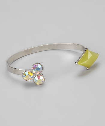 Silver & Chartreuse Art Deco Diamonds Cuff