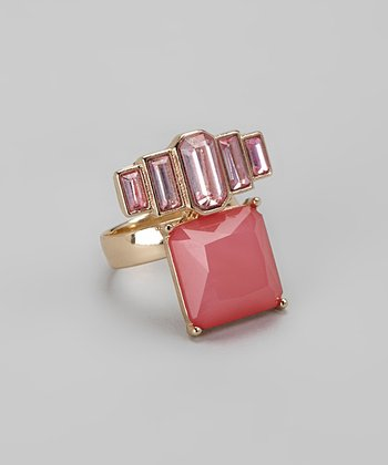 Gold & Pink Art Deco Diamonds Cocktail Ring