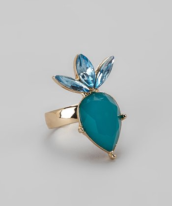 Gold & Blue Art Deco Diamonds Cocktail Ring