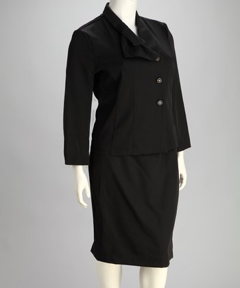 Black Plus-Size Blazer & Skirt
