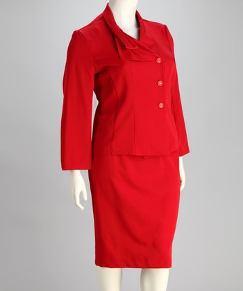 Red Plus-Size Blazer & Skirt
