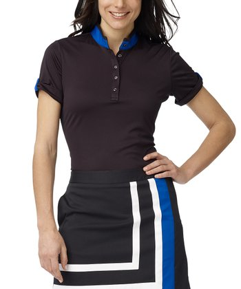Black Bright Lights Placement Polo - Women
