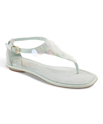 Mint Candy Buttons T-Strap Sandal