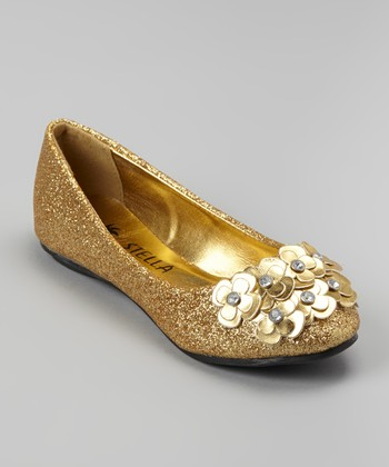 Gold Glitter Bouquet Face Ballet Flat