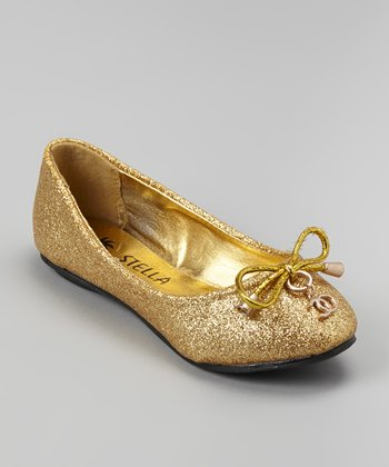 Gold Bow Face Ballet Flat
